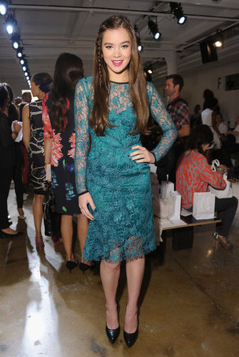 Hailee Steinfeld stepped out for Peter Som in a green lace confection.