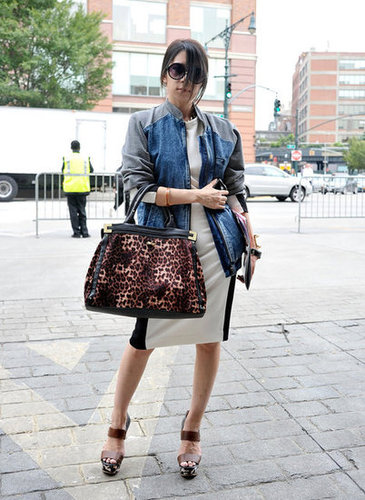 We love this try-it-all look of leopard, leather, and denim.