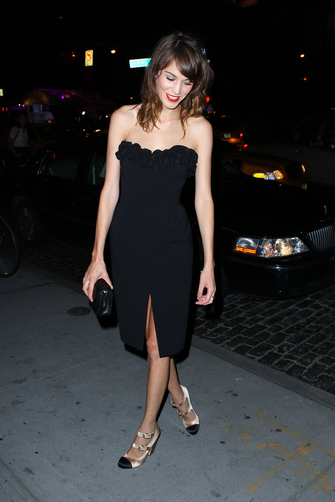 Wow! Alexa Chung amped up the sexy at Vogue Fashion's Night Out in  NYC. That LBD works wonders for her, and we love her strappy heels.