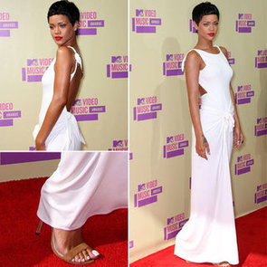 Pictures of Rihanna in White Backless Dress on the Red Carpet at the 2012 MTV Video Music Awards