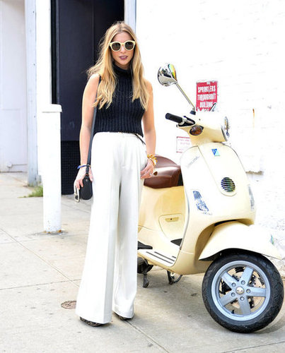 These statement shades played perfectly off of white wide-leg trousers and a turtleneck.