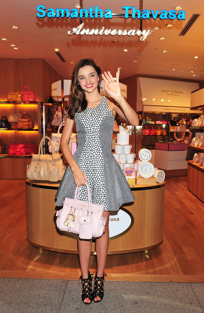 Miranda Kerr did press for Samantha Thavasa in Japan.