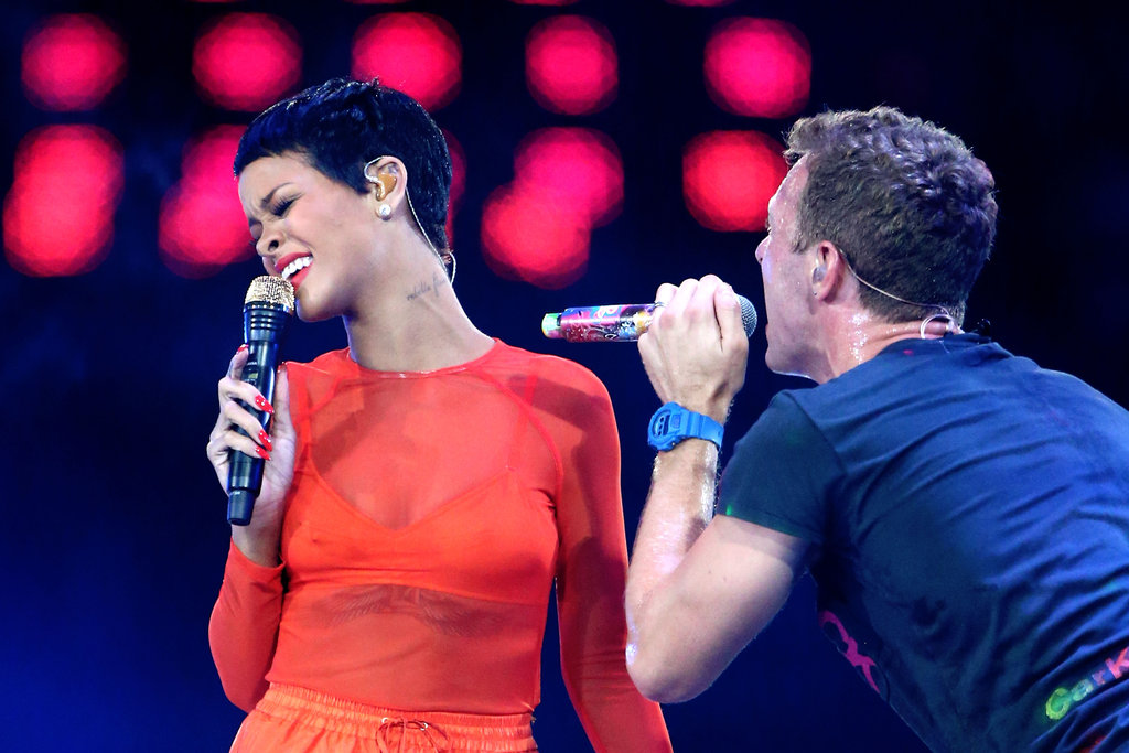 Rihanna wore a sheer orange top to perform with Chris Martin at the London Paralympics closing ceremony.