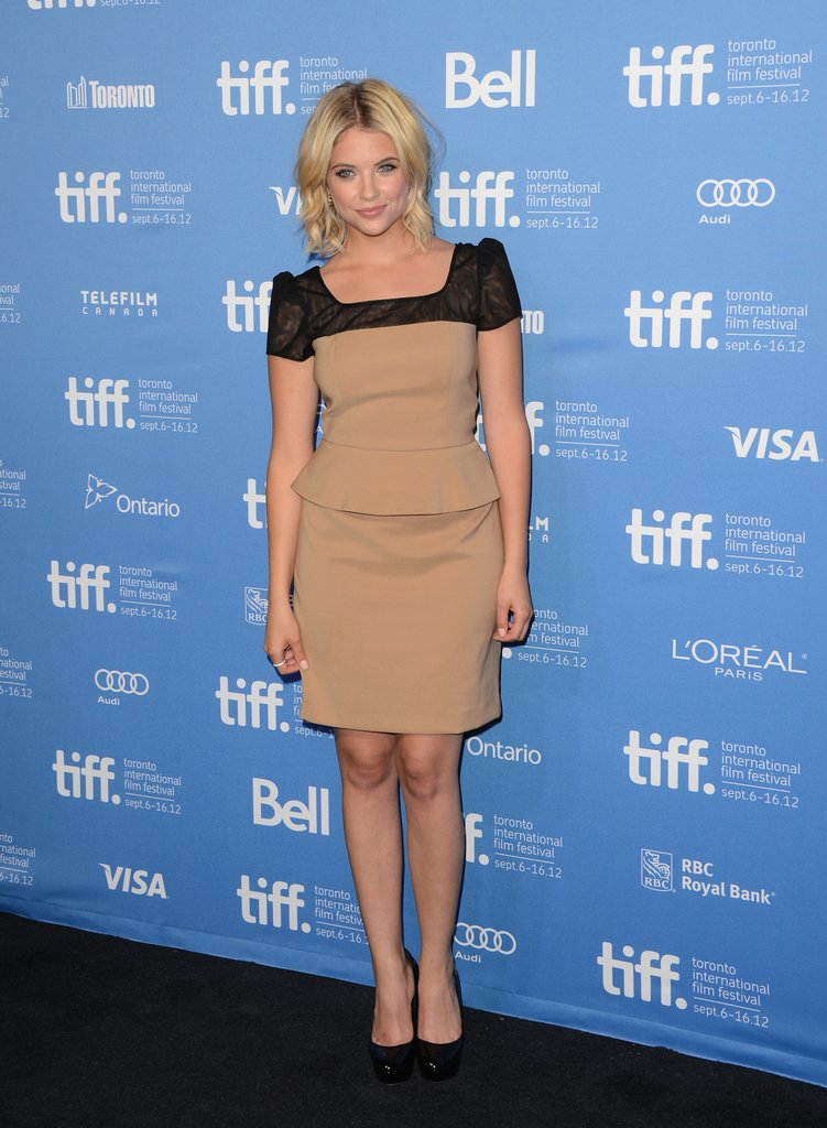 Ashley Benson chose a peplum Jay Godfrey dress for the Spring Breakers photocall.