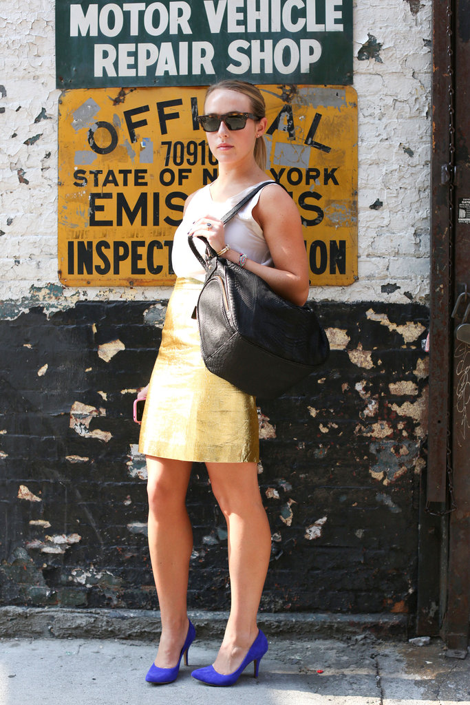 This gold statement skirt is the, um, foil to a laid-back tank.