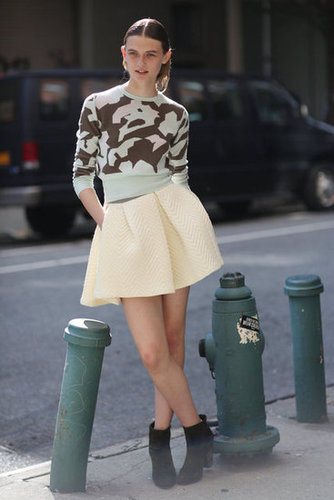 Bold print meets pastel hues in this girlie-cum-cool look. Source: Greg Kessler