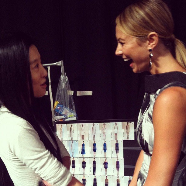 Stacy Keibler looked thrilled to be chatting it up with Vera Wang. Source: Instagram user stacykeibler