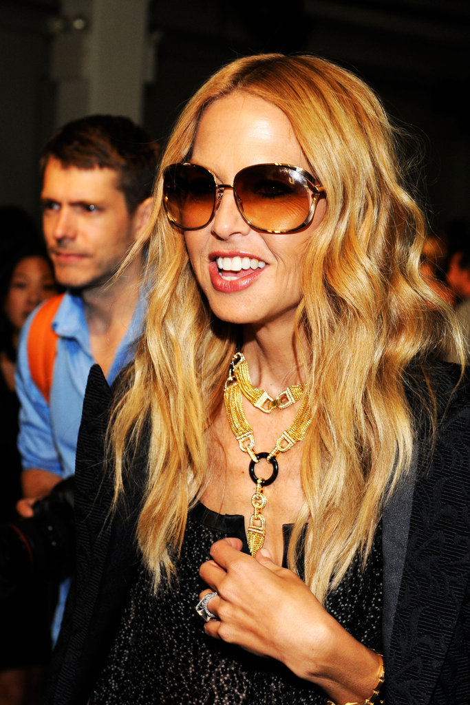 Rachel Zoe arrived at the Rodarte runway show with sunglasses and a smile.