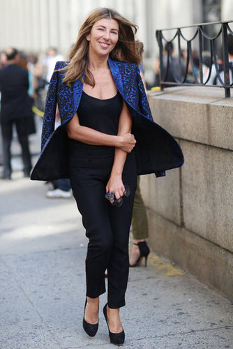 Nina Garcia looked to a rich blue blazer to add a pop of color to her all-black ensemble. Source: Greg Kessler