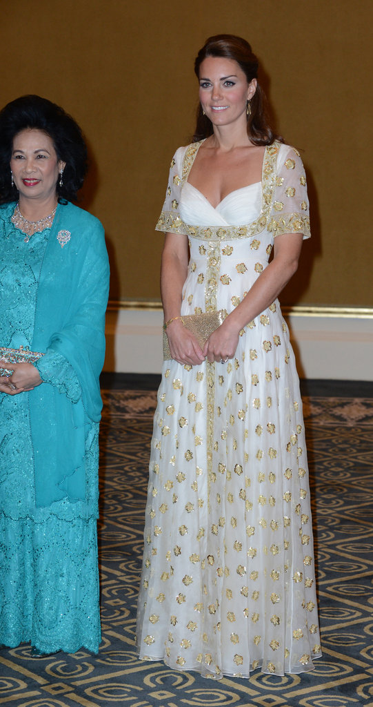 Kate Middleton wore a floor length white dress.