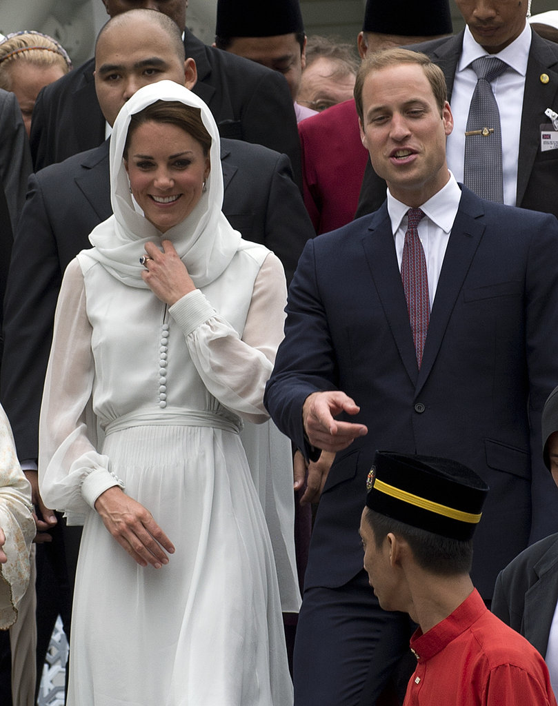 Kate Middleton Smiles Big and Goes Barefoot Visiting Malaysian Mosque