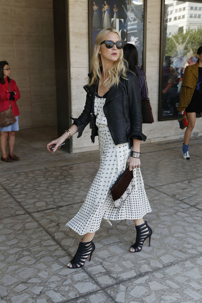 A leather jacket gave a printed midi dress a cool counterpart — as did a pair of cage booties.