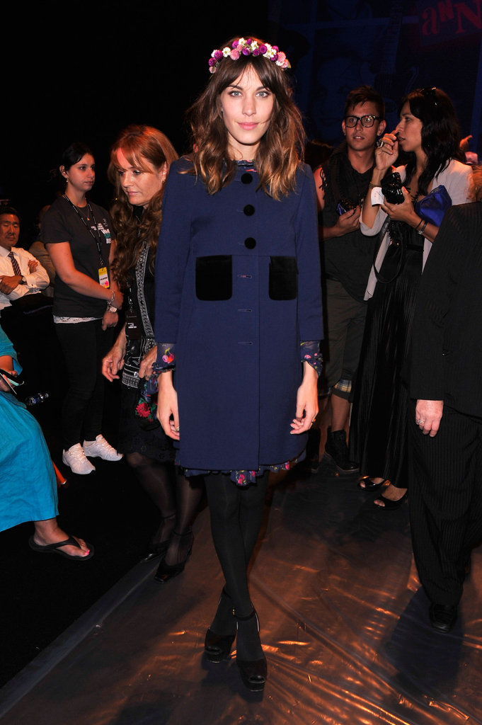 Alexa Chung stood out in the crowd at Anna Sui, thanks to a beautiful headpiece.