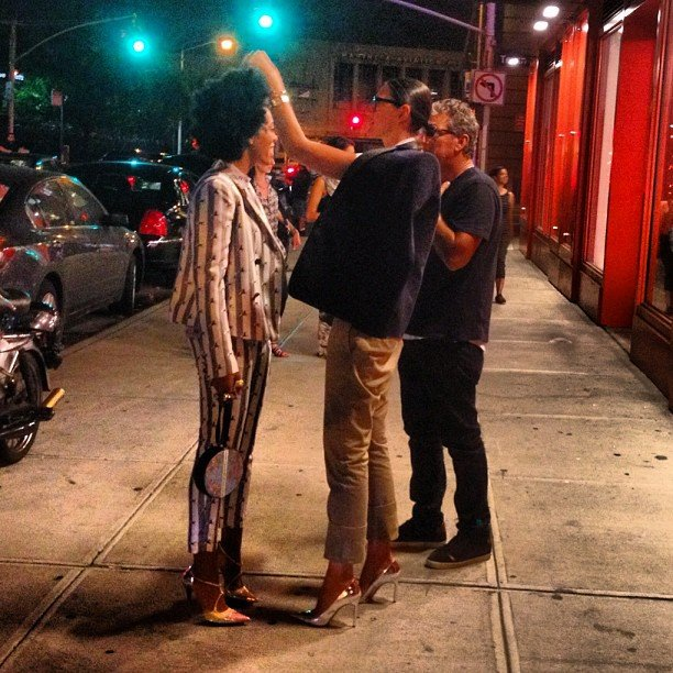 Jenna Lyons gave Solange Knowles a quick style adjustment before entering Milk Studios. What are friends for, anyway?