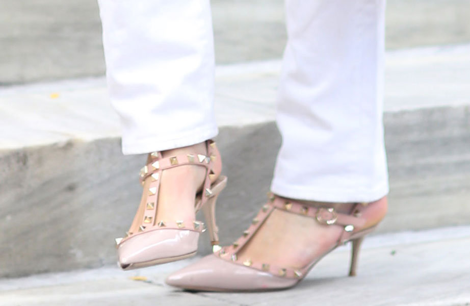 Studded Valentino pumps lent an air of ladylike-meets-edgy luxe. Source: Greg Kessler