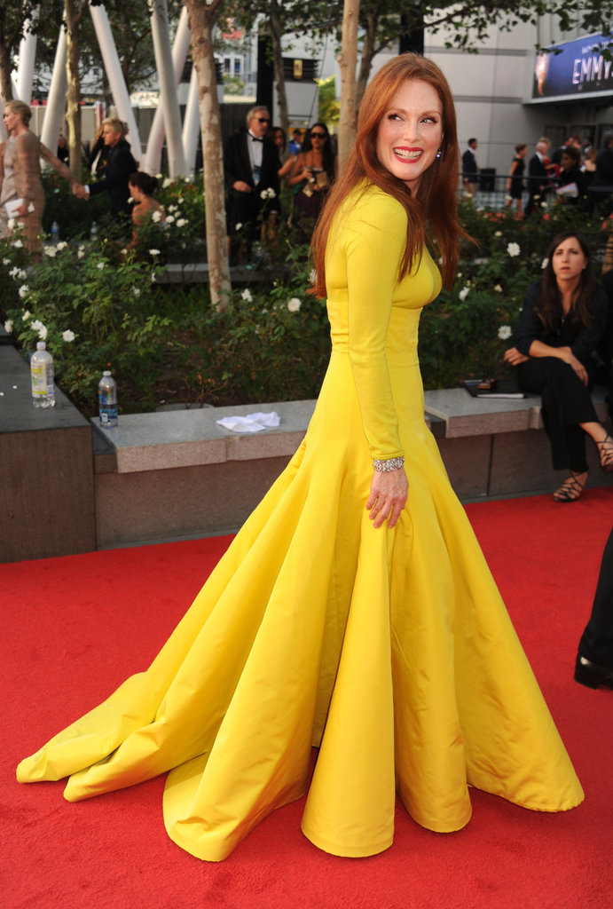 Julianne Moore lit up the carpet in bright yellow.