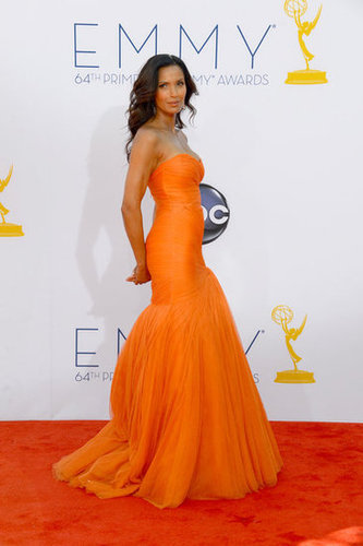 Padma Lakshmi lit up the carpet in bright orange.