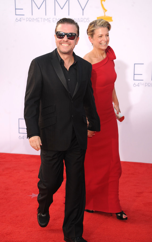 Ricky Gervais arrived with Jane Fallon on the red carpet for the Emmys.