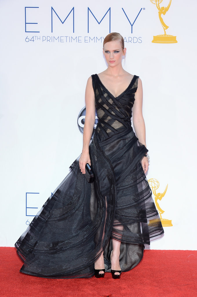 January Jones, mom to 1-year-old Xander, wowed in a black Zac Posen gown.