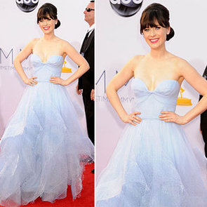 Pictures of Zooey Deschanel in Custom Reem Acra at the 2012 Emmy Awards