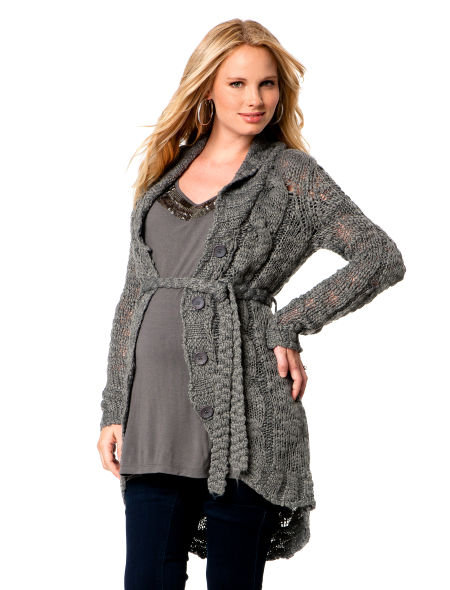 Belted Maternity Sweater Coat ($69)