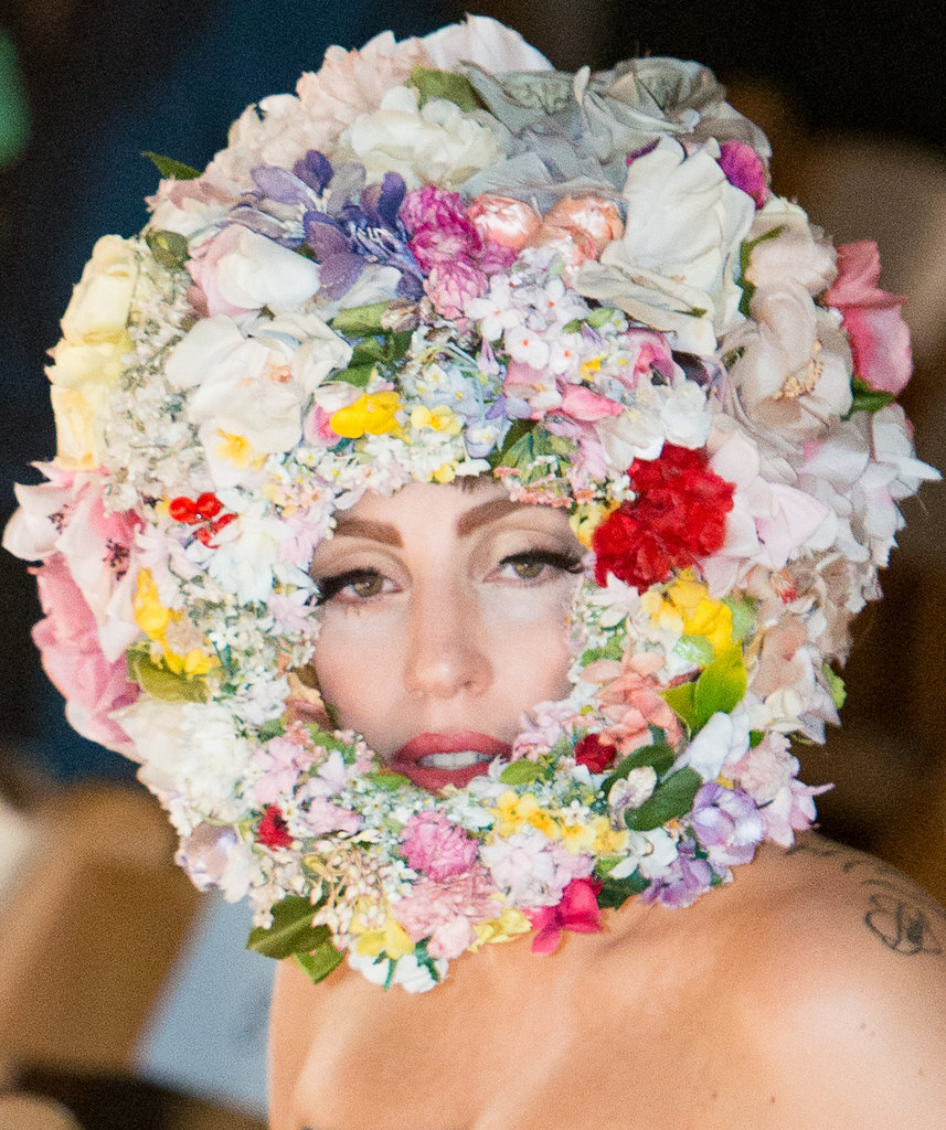 Lady Gaga wore flowers on her head at the Philip Treacy show during LFW.
