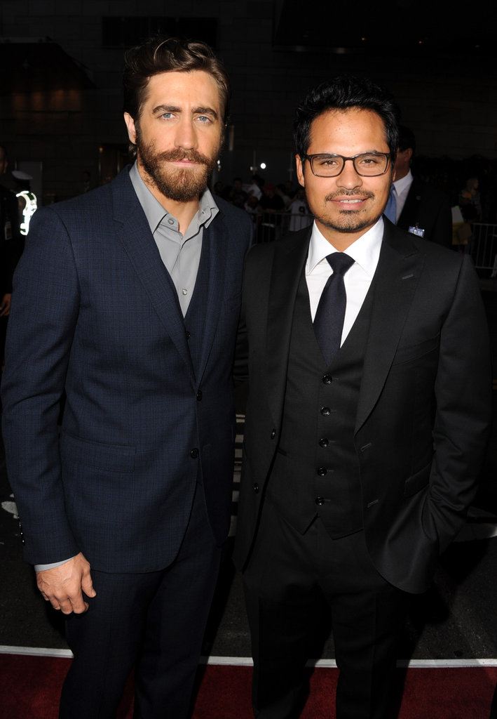 End of Watch costars Jake Gyllenhaal and Michael Peña linked up at the LA premiere.