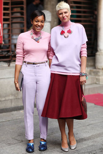 Fashionable friends with coordinating statement jewels. Source: Greg Kessler