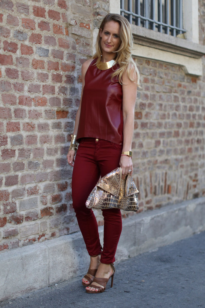 Head-to-toe red got an edgy update with a leather top.