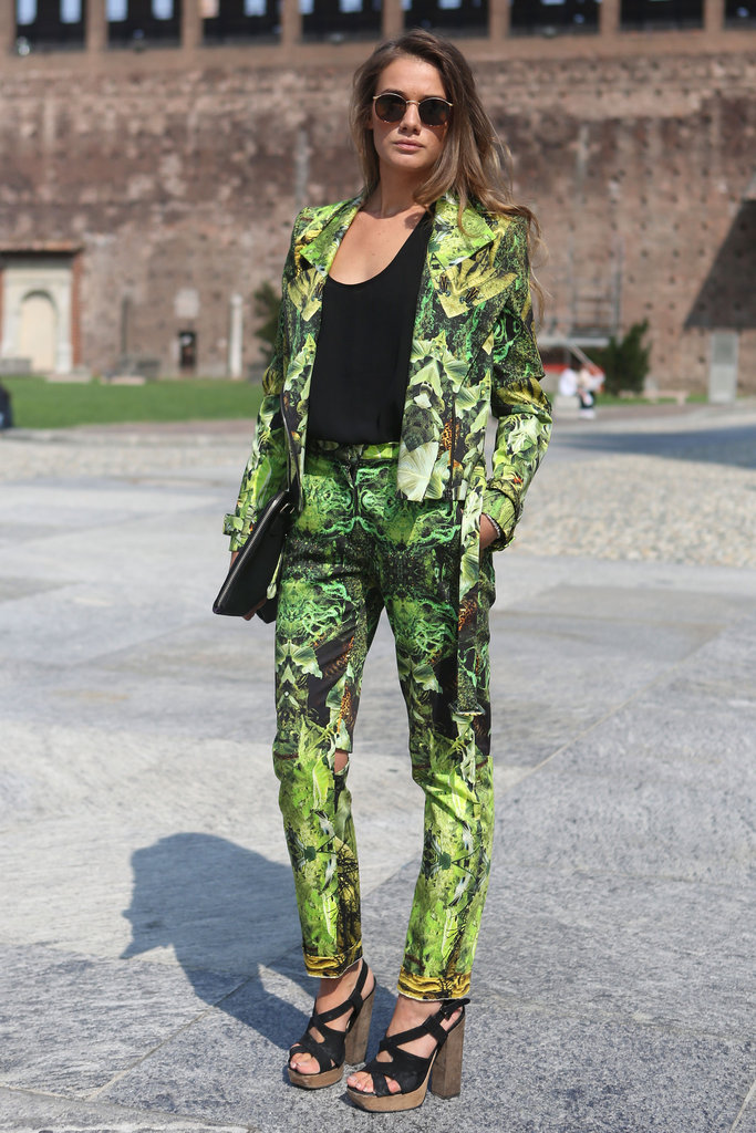 We love that this standout printed suit was made entirely wearable with understated shades and a basic black tee.