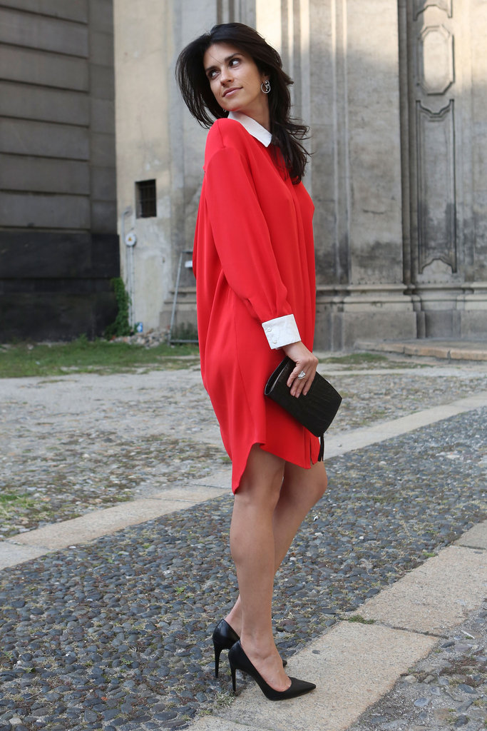 A brilliant red shirtdress was an understated standout.