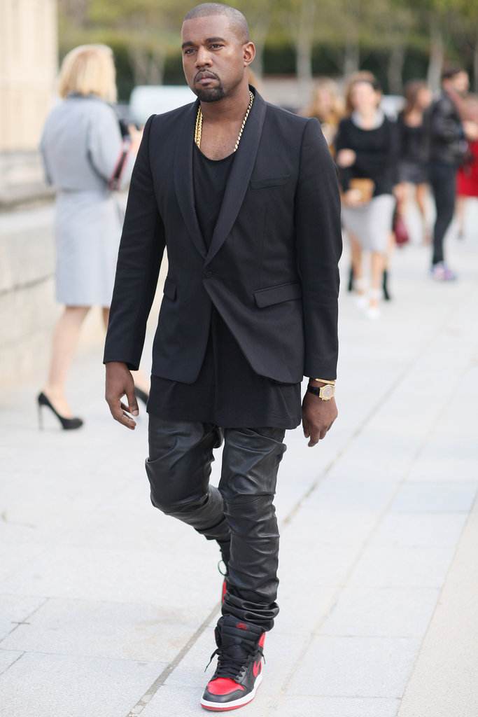 Kanye showed off his signature style: a sleek, albeit edgy, mix.