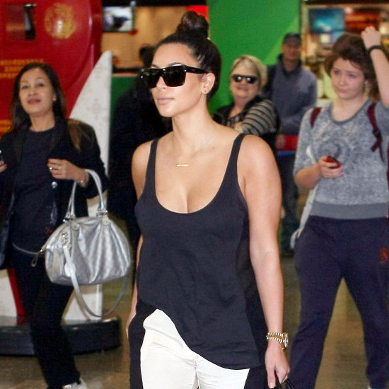 Kim Kardashian Wearing Black and White Pants