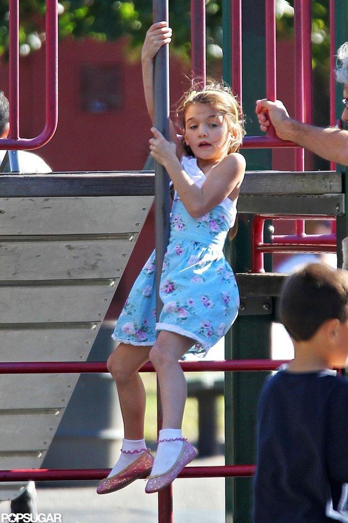 Suri Cruise had fun at a playground in Brooklyn.