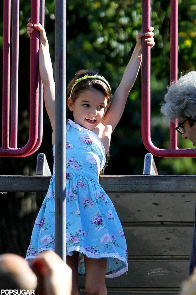 Suri Cruise climbed around a playground in Brooklyn.