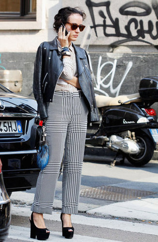 Toughen up a plaid trouser with a leather topper.