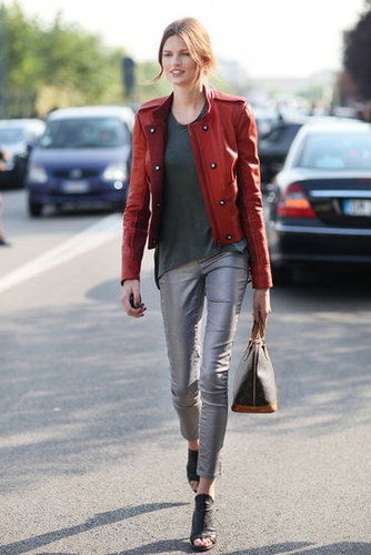 We love this slick metallic pant versus bold red military-inspired jacket — it's a low-key pairing with a lot of attitude. Source: Greg Kessler