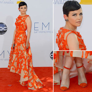 Pictures of Ginnifer Goodwin in Monique Lhuilier Resort 2013 gown on the red carpet at the 2012 Emmy Awards