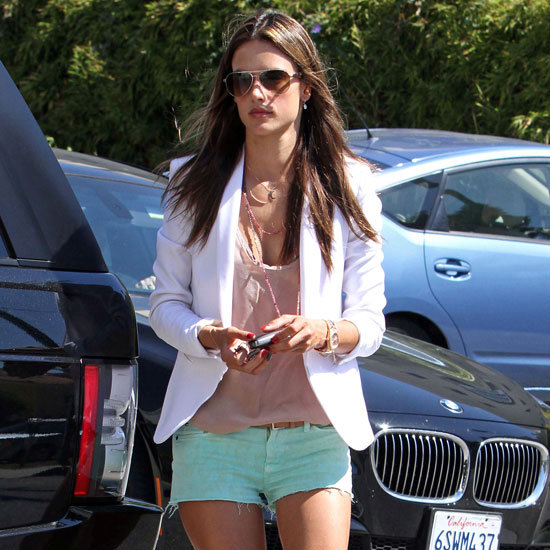 Alessandra Ambrosio Wearing White Blazer