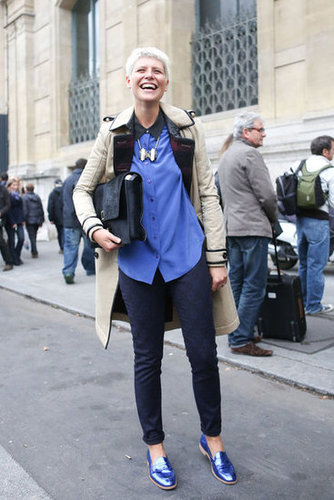 Blue metallic brogues that picked up the blues in her blouse — how cool is that?