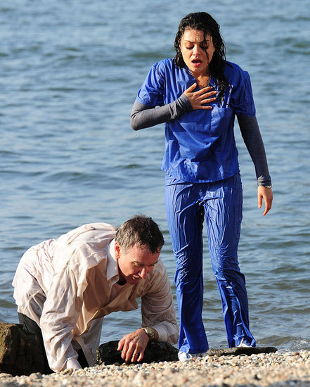 Mila Kunis caught her breath as Robin Williams crawled to shore.
