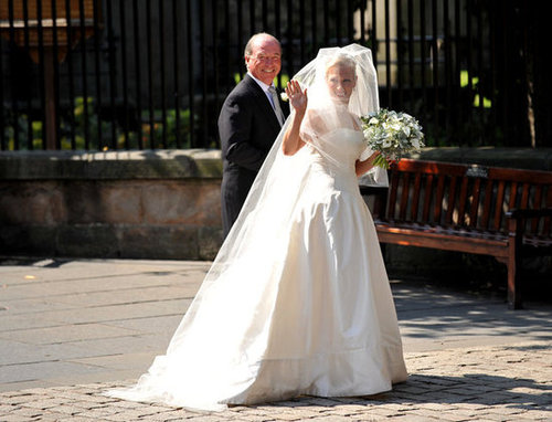Zara Phillips and Mike Tindall  The Bride: Zara Phillips, granddaughter of Queen Elizabeth II. The Groom: Mike Tindal, and England rugby player. When: June 20, 2012. Where: Edinburgh, Scotland.