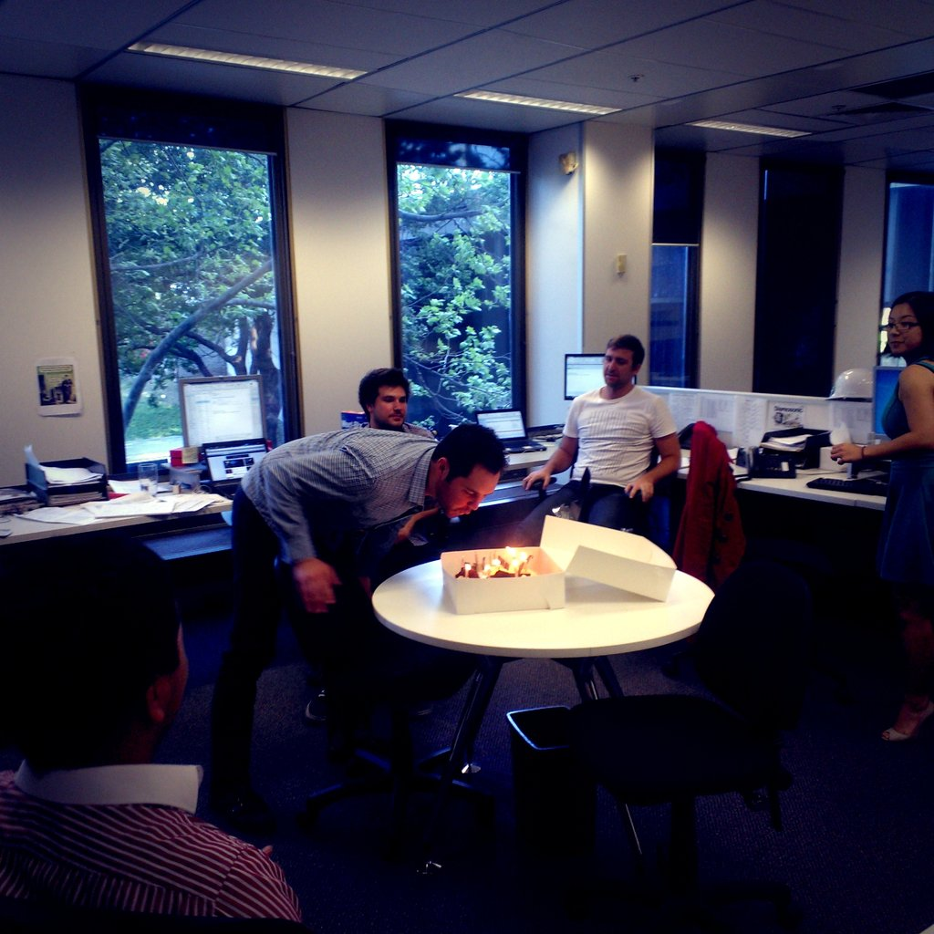 Birthday time at the office! On Monday we had some delicious Baileys cheesecake for account manager Chris' big day.