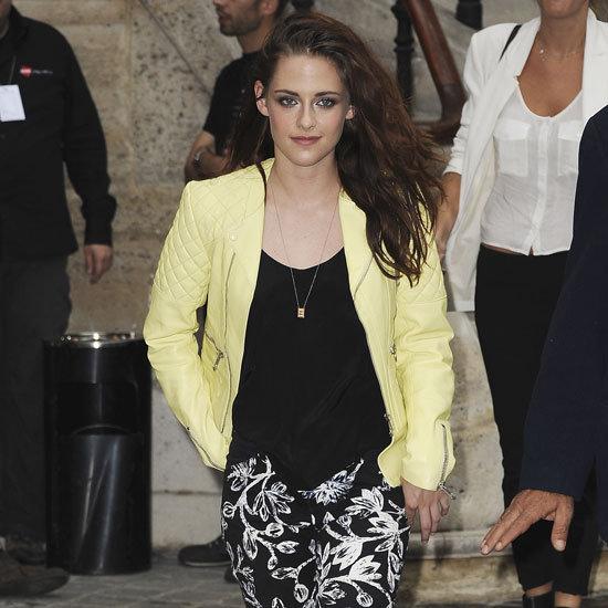 Kristen Stewart Wearing Yellow Leather Jacket