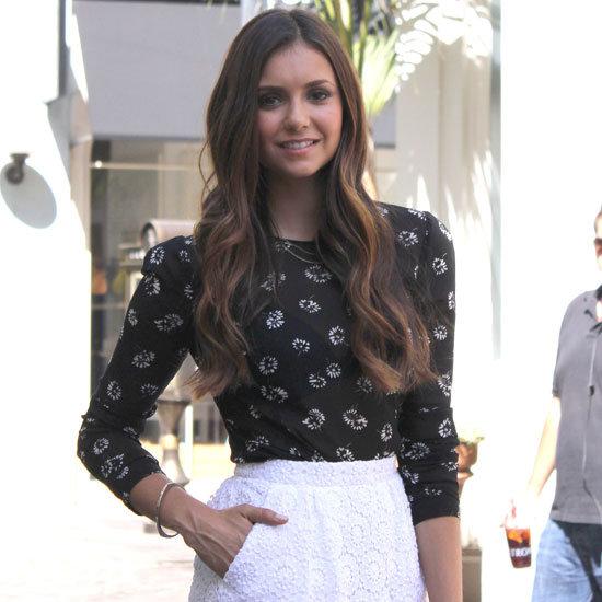 Nina Dobrev Wearing White Lace Skirt