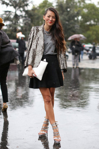 High shine, even in the rain, thanks to a sequined blazer and strappy silver platforms.