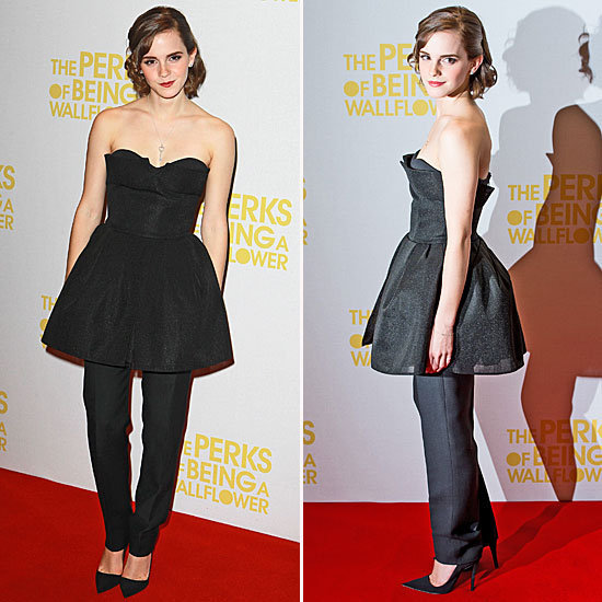 Emma Watson wore a chic dress over slick pants to the premiere of her latest movie The Perks of Being a Wallflower. Do you love her look?