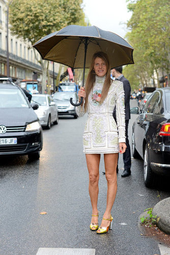 Anna Dello Russo showed off an ornate Balmain minidress out and about at the shows.