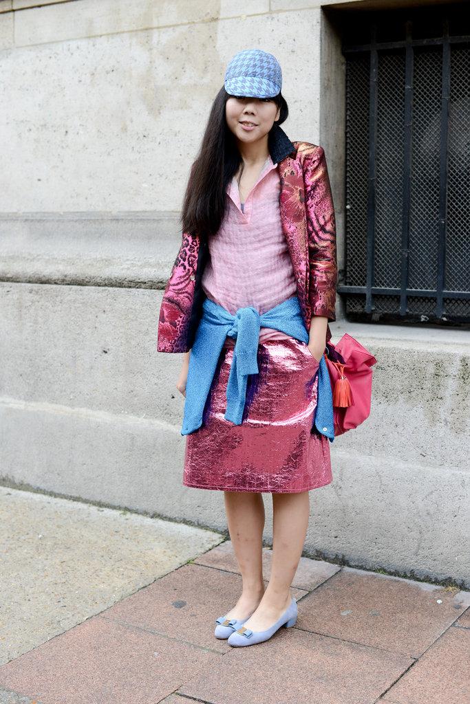 Jacquard metallics in fresh, girlie shades of pink.