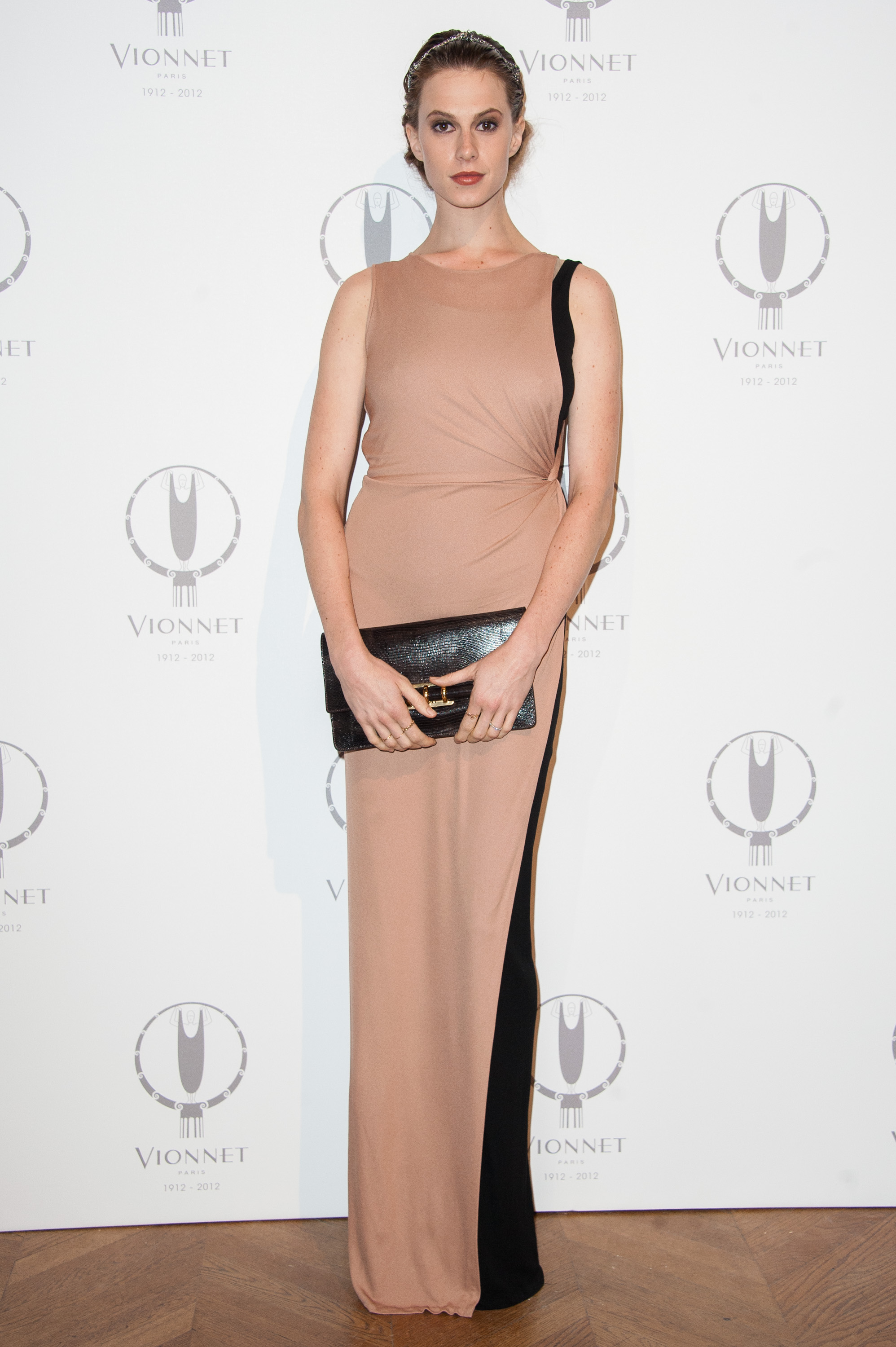 For the Vionnet 100th anniversary, Elettra Wiedemann wore a sleek nude and black floor-length gown.